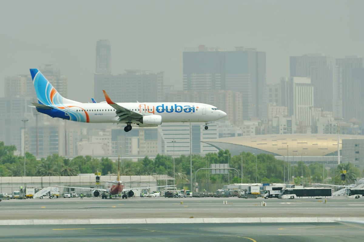 A FlyDubai Boing 737-800 landing at the tarmac at Dubai's International Airport on September 14, 2017 [GIUSEPPE CACACE/AFP via Getty Images]