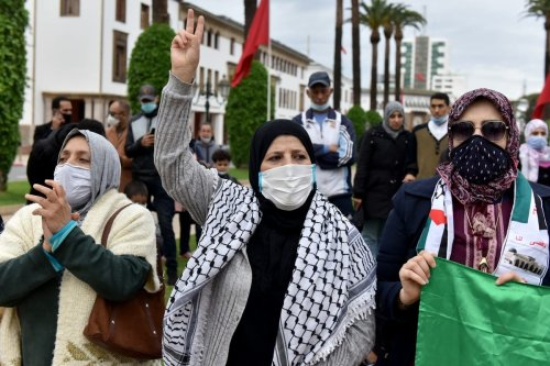 Moroccans protest the normalisation deal with Israel in Rabat, Morocco on 29 November 2020. [Jalal Morchidi/Anadolu Agency]