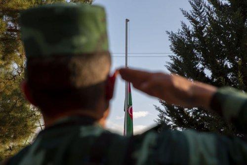 Azerbaijani military officer in Azerbaijan on 8 November 2020 [Arif Hüdaverdi Yaman/Anadolu Agency]