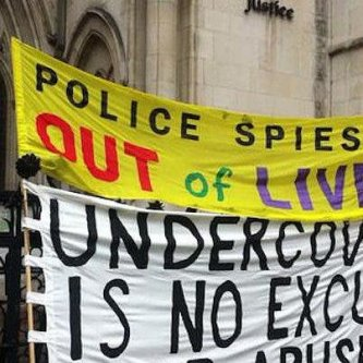 Protest to denoucne spycops in the UK [Twitter]