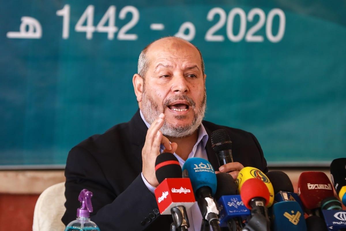 Senior Hamas official Khalil al-Hayya speaks during a meeting held under the name of 'National Developments' in Gaza city, Gaza on 1 December 2020. [Ali Jadallah - Anadolu Agency]