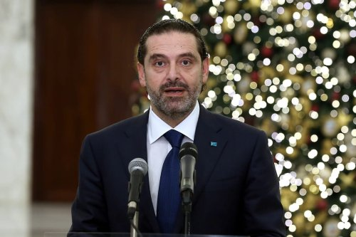 Lebanon's Prime Minister-designate Saad al-Hariri makes a speech during a press conference in Beirut, Lebanon on 9 December 2020 [Lebanese Presidency/Anadolu Agency]