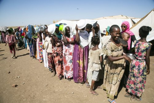Ethiopians, who fled the conflict in the Tigray, can be seen at a refugee camp in Sudan on December 14, 2020 [Mahmoud Hjaj/Anadolu Agency]