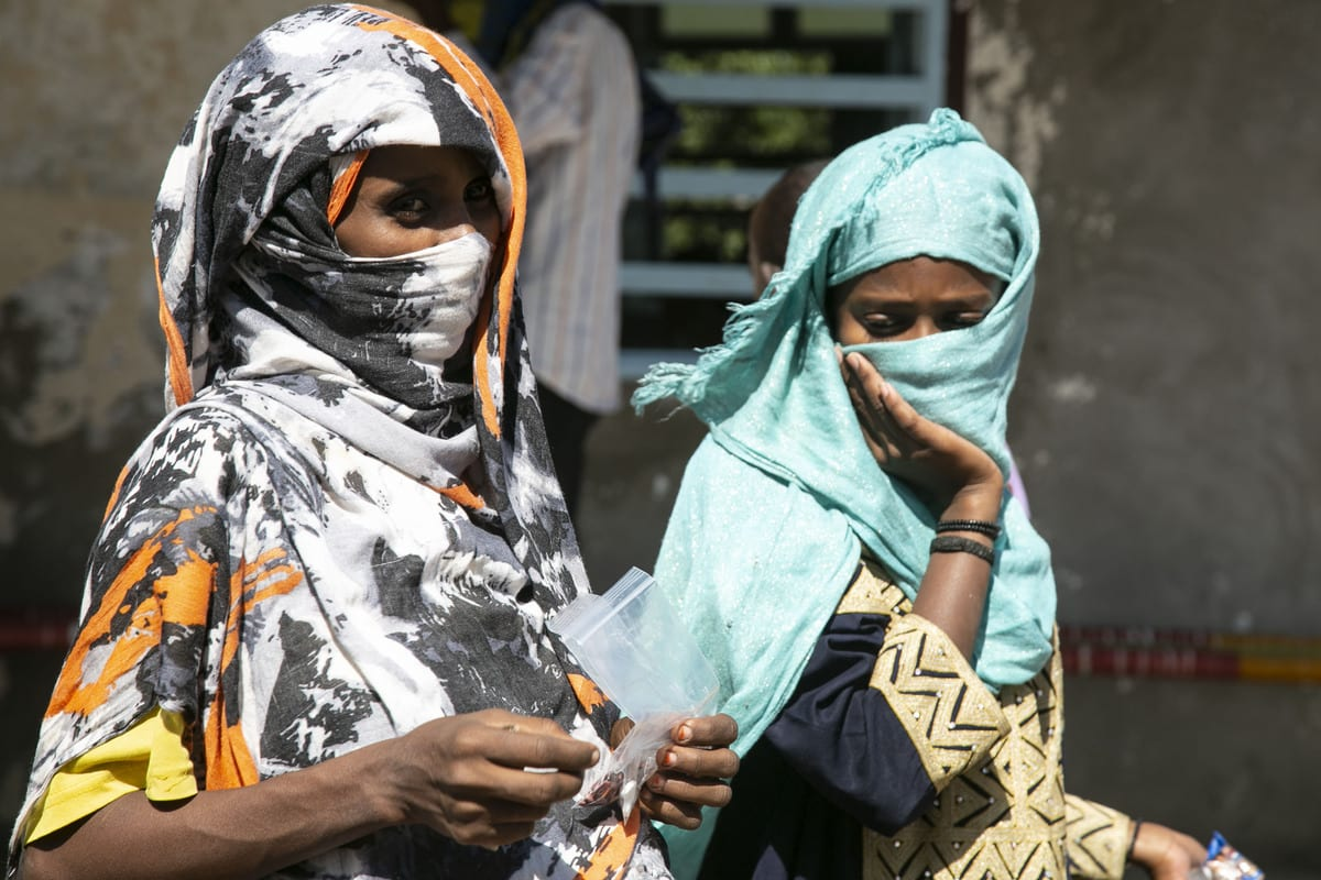 Ethiopians, who fled the conflict in the Tigray region can be seen in Sudan on 14 December 2020 [Mahmoud Hjaj/Anadolu Agency]
