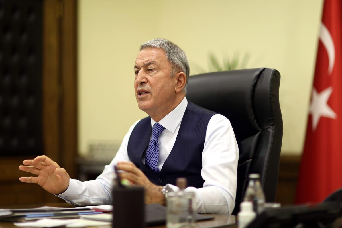 Turkish Defense Minister Hulusi Akar in Ankara, Turkey on 14 December 2020 [Arif Akdoğan/Anadolu Agency]