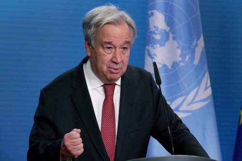 UN Secretary-General Antonio Guterres speaks during a joint press conference held with German Foreign Minister Heiko Maas (not seen) after a meeting in Berlin, Germany, on December 17, 2020 [AP Photo/Michael Sohn/Pool / Anadolu Agency]