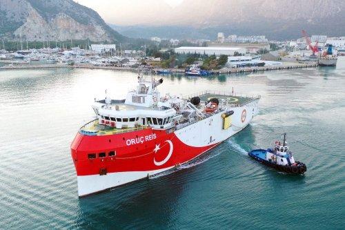 Oruc Reis seismic research vessel, sets sail from Antalya to conduct seismic studies in Eastern Mediterranean, on 23 December 2020, in Antalya, Turkey. [Bekir Bektaş - Anadolu Agency]
