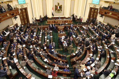 Egypt's members of parliament attend a session in Cairo on April 16, 2019. - Egypt's parliament, packed with loyalists of President Abdel Fattah al-Sisi, began today a session to vote on constitutional changes that could keep the former military chief in power until 2030. The proposed amendments were initially introduced in February by a parliamentary bloc supportive of Sisi and updated this week after several rounds of debates. (Photo by - / AFP) (Photo credit should read -/AFP via Getty Images)