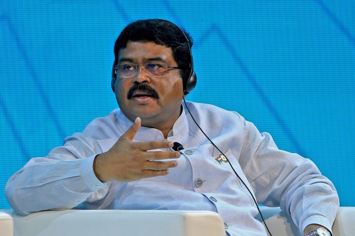 India's Minister of Oil and Gas Dharmendra Pradhan speaks during the opening ceremony of the Abu Dhabi International Petroleum Exhibition and Conference (ADIPEC) in Abu Dhabi on November 11, 2019 [-/AFP via Getty Images]