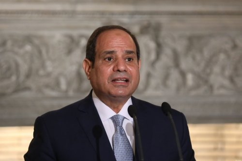 Egyptian President Abdel Fattah al-Sisi speaks during a joint news conference with Greek Prime Minister at Maximos Mansion in Athens on November 11, 2020. (Photo by Costas BALTAS / various sources / AFP) (Photo by COSTAS BALTAS/AFP via Getty Images)