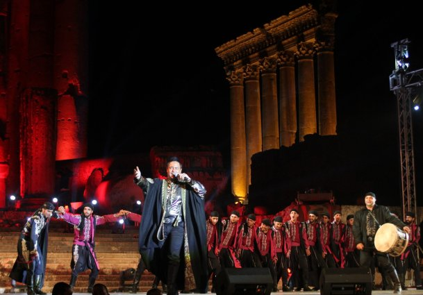 Lebanese singer Assi Hallani performs during the opening of the Baalbek international festival in central Lebanon on July 30, 2014 [AFP via Getty Images]