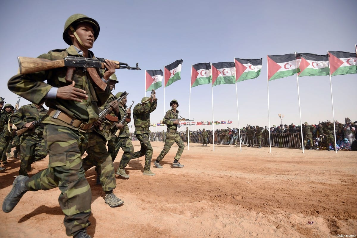 Members of the Sahrawi People's Liberation Army parade during a ceremony to mark 40 years after the Front proclaimed the Sahrawi Arab Democratic Republic (SADR) in the disputed territory of Western Sahara on February 27, 2016 [FAROUK BATICHE/AFP via Getty Images]