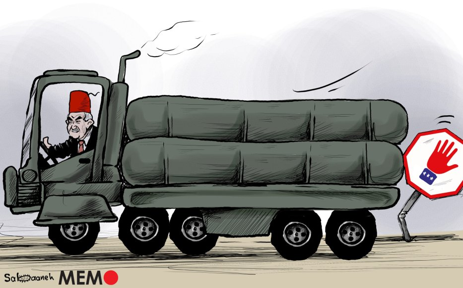 US sanctioning Turkey over the purchase of Russian missile - Cartoon [Sabaaneh/MiddleEastMonitor]