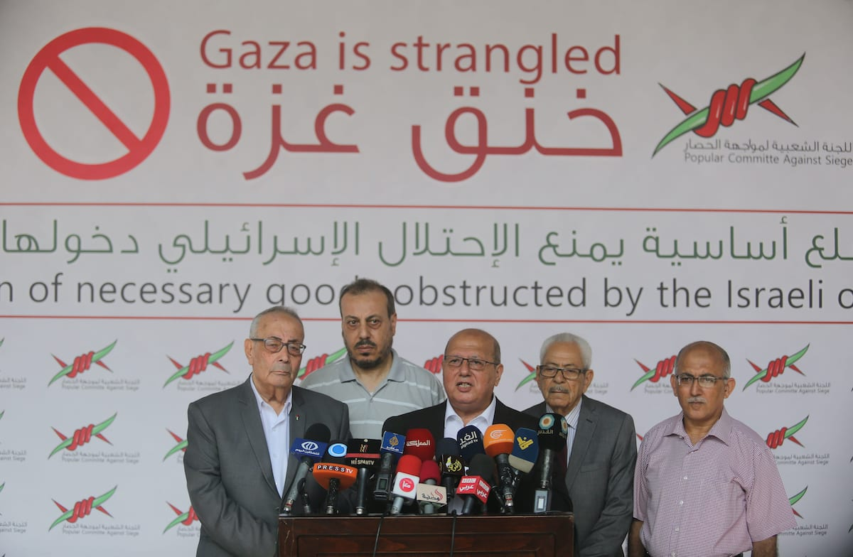 Head of the Popular Committee Jamal Al-Khudari speaks during a press conference, in Gaza city on 2 August 2018. [Ashraf Amra/Apaimages]