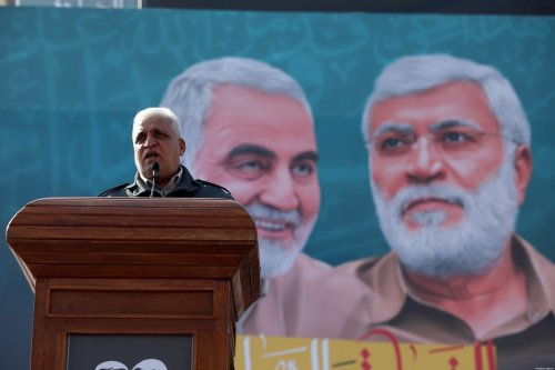 Faleh al-Fayyad, head of the Hashd al-Shaabi group makes a speech during a demonstration at Tahrir Square to commemorate the first anniversary of the killing of Iranian Revolutionary Guards' Quds Force commander Qasem Soleimani and the vice president of the Hashd al-Shaabi group Abu Mahdi al-Muhandis, on 3 January 2021 in Bahgdad, Iraq [Murtadha Al-Sudani / Anadolu Agency]