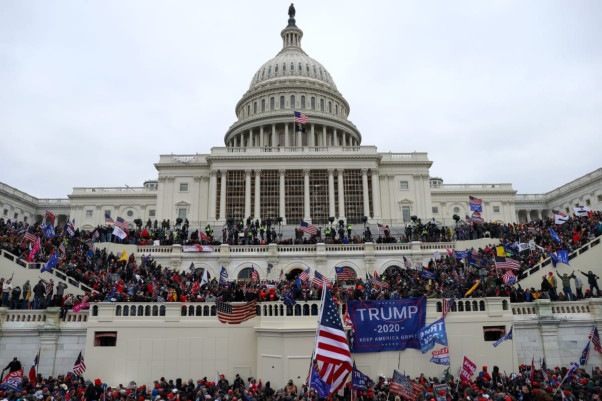 US President Donald Trump's supporters gather outside the Capitol building in Washington DC, US on 6 January 2021 [Tayfun Coşkun/Anadolu Agency]
