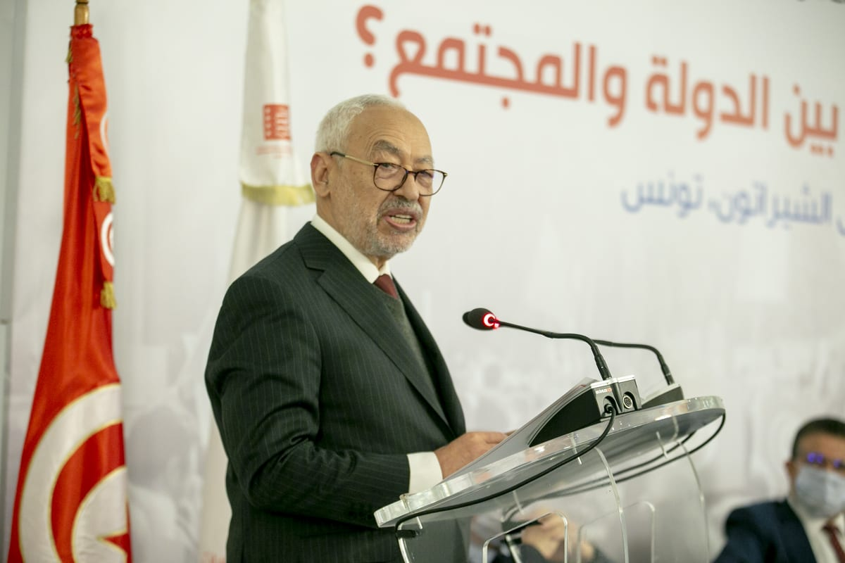Rached Ghannouchi, Tunisian parliament speaker and the head of the Ennahda Movement in Tunis, Tunisia on 12 January 2021 [Yassine Gaidi/Anadolu Agency]