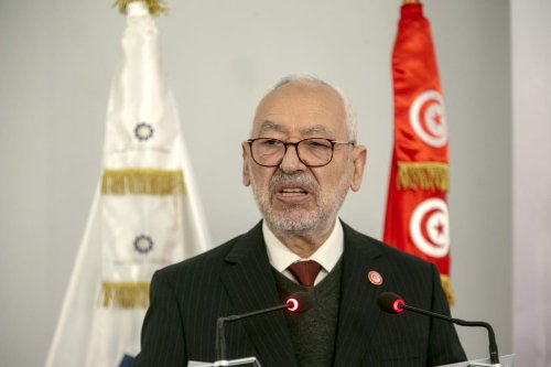 Rached Ghannouchi, Tunisian parliament speaker and head of the Ennahda Movement speaks during a panel in Tunis, Tunisia on 12 January 2021. [Yassine Gaidi /Anadolu Agency]