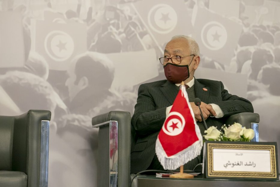 Rached Ghannouchi, Tunisian parliament speaker and the head of the Ennahda Movement speaks attends a panel in Tunis, Tunisia on 12 January 2021 [Yassine Gaidi/Anadolu Agency]