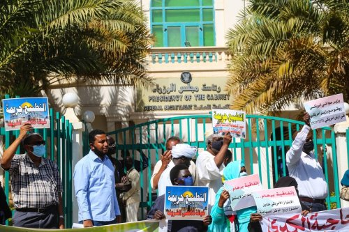 "KHARTOUM, SUDAN - JANUARY 17: Sudanese people rally against their country's recent signing of a deal on normalising relations with Israel, outside the cabinet offices in the capital Khartoum, Sudan on January 17, 2021. On January 6, Sudan became the third Arab country to sign the US-brokered ""Abraham Accords"" on normalising ties with Israel after the United Arab Emirates and Bahrain last year. ( Mahmoud Hjaj - Anadolu Agency )"