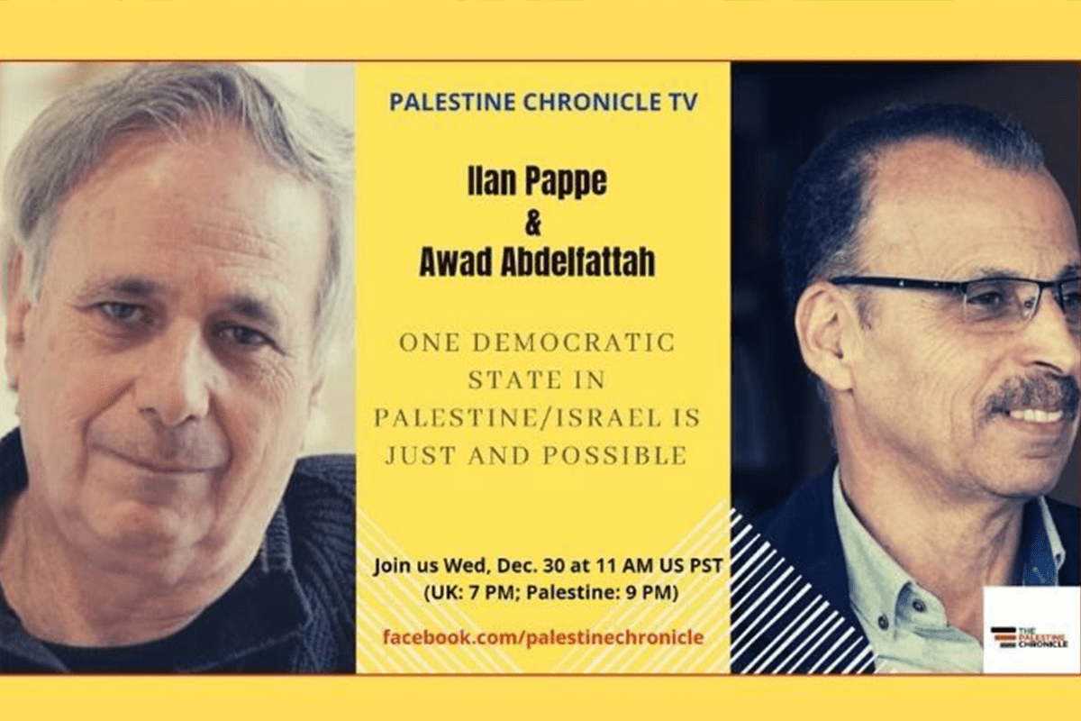 Renowned historian, Professor Ilan Pappe (L) and respected political analyst and leader Awad Abdelfattah (R) [Palestine Chronicle]