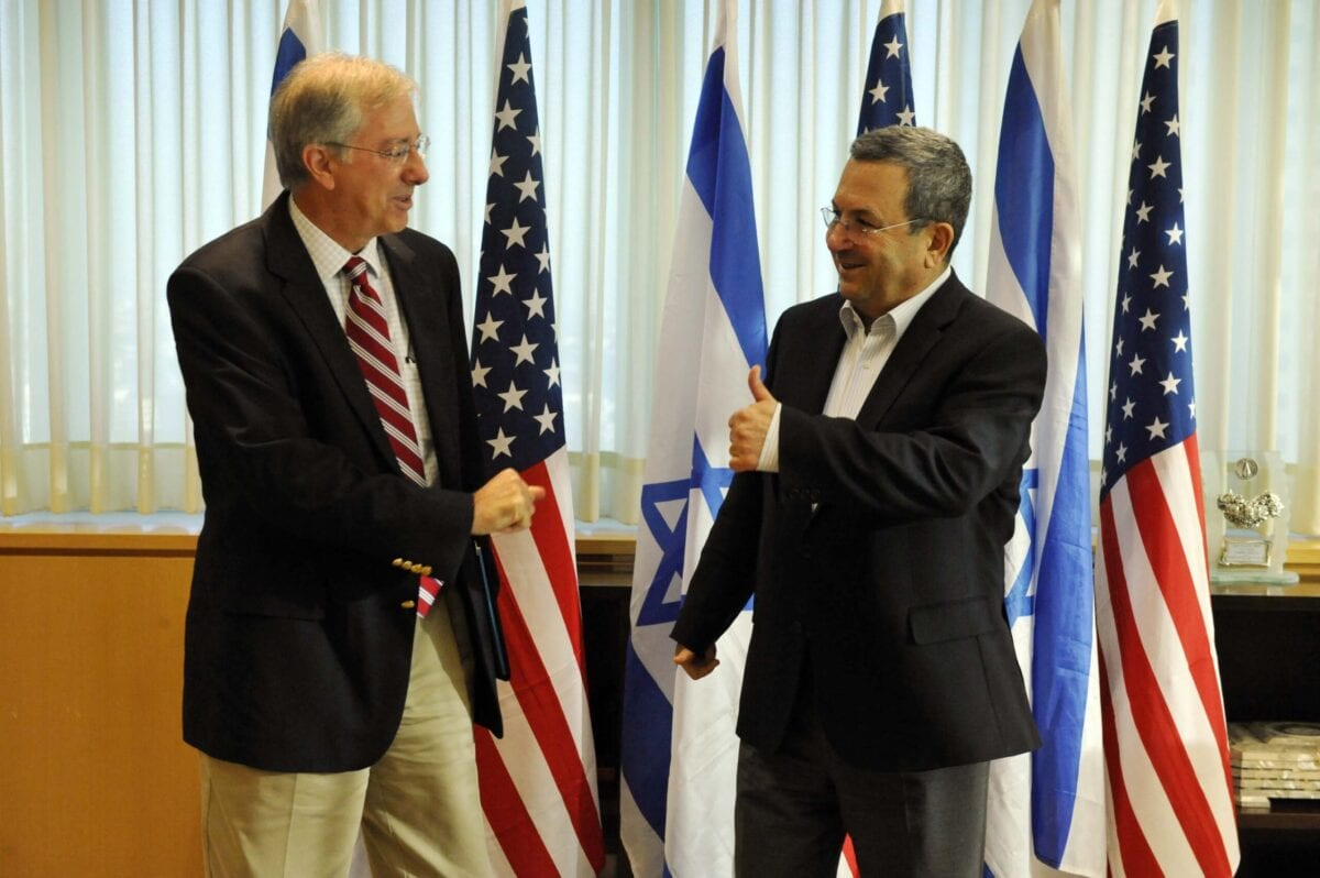 TEL AVIV, ISRAEL - AUGUST 5: In this handout image provided by the U.S. Embassy Tel Aviv, Dennis Ross, Special Assistant to the President and Director for the Central Region at the National Security Council, with Israeli Minister of Defense Ehud Barak after their meeting, on August 5, 2010 at the MOD in Tel Aviv. (Photo by Matty Stern/U.S. Embassy Tel Aviv via Getty Images)