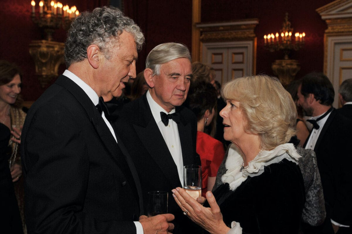 Camilla, The Duchess of Cornwall talks with Royal Biographer William Shawcross during a reception to celebrate the 25th anniversary of the National Osteoporosis Society at St James's Palace on 21 November 2011 in London, England. [Rota/Anwar Hussein/Getty Images]