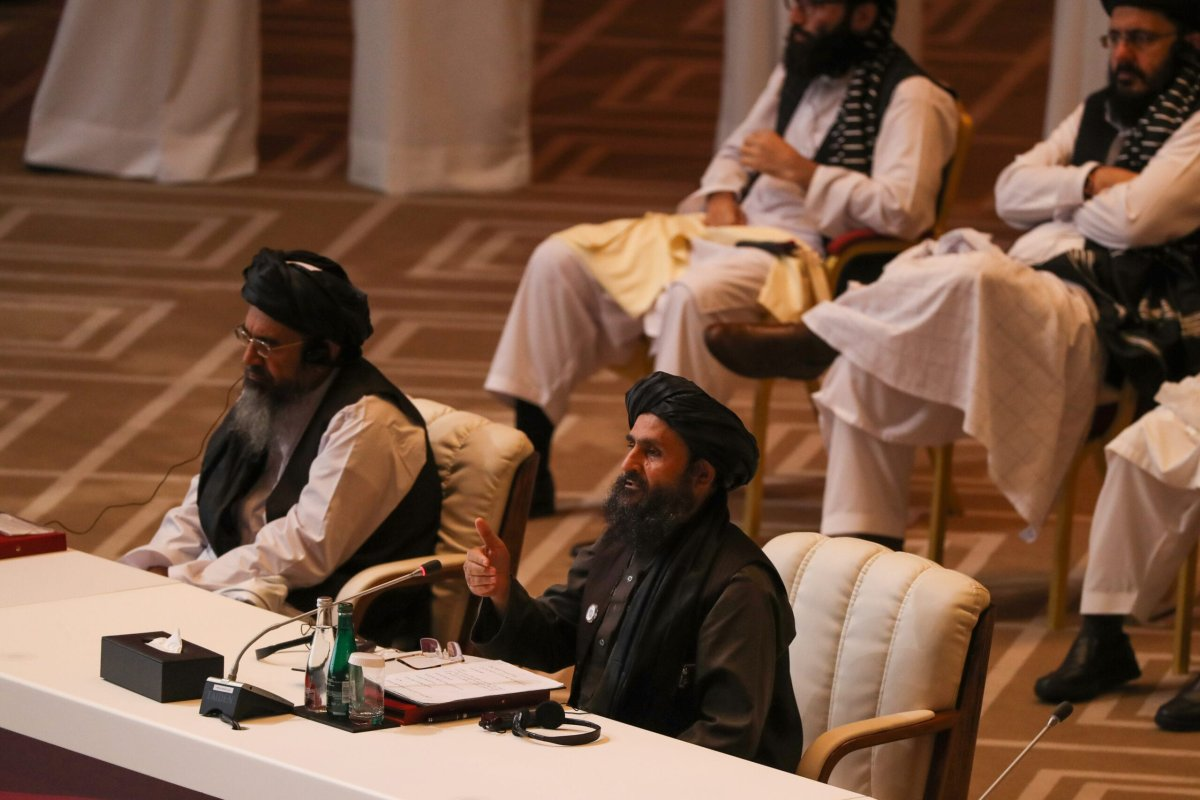 Taliban co-founder Mullah Abdul Ghani Baradar speaks during the opening session of the peace talks between the Afghan government and the Taliban in the Qatari capital Doha on September 12, 2020. (Photo by KARIM JAAFAR / AFP) (Photo by KARIM JAAFAR/AFP via Getty Images)