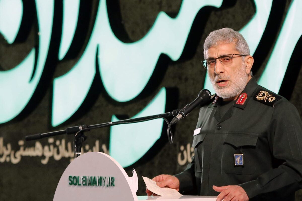 Iranian Quds force commander Esmail Ghaani speaks during a ceremony on the occasion of the first anniversary of death of former Iran's Quds force commander Qasem Soleimani in Tehran