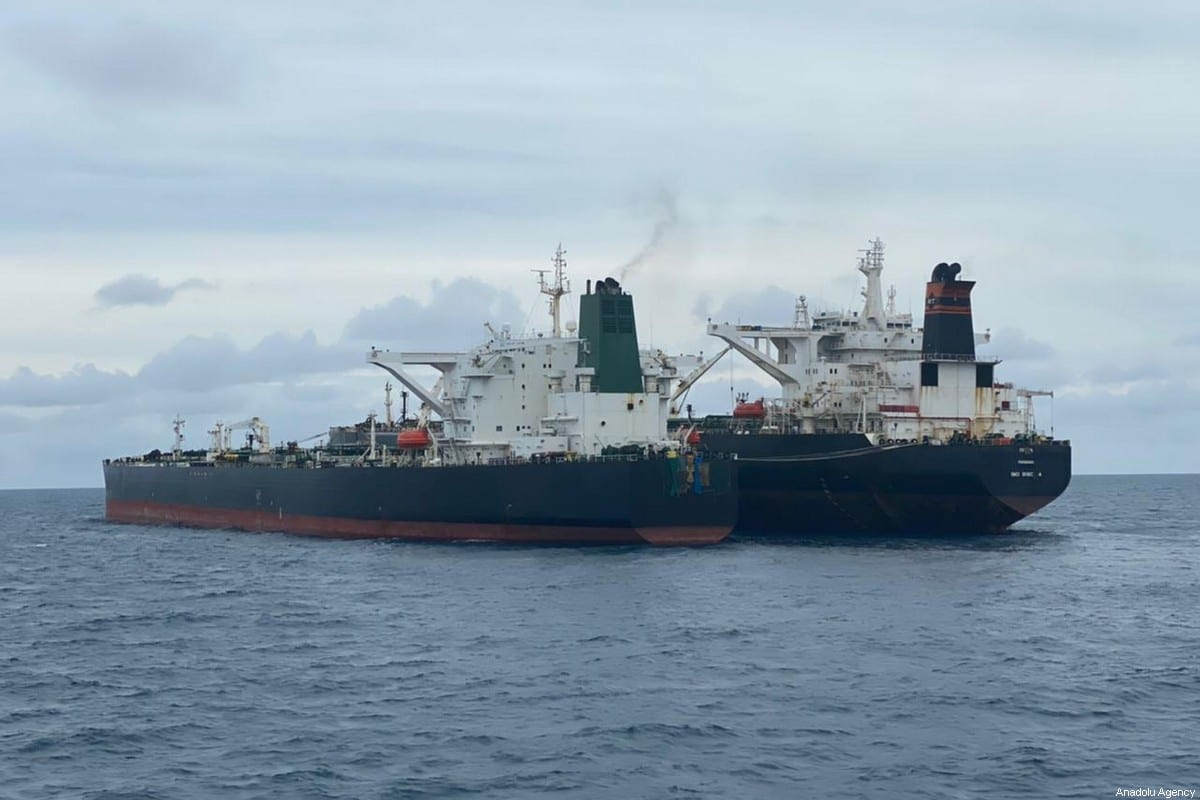 Iranian tankers on 24 January 2021 [Indonesian coast guard/Anadolu Agency
