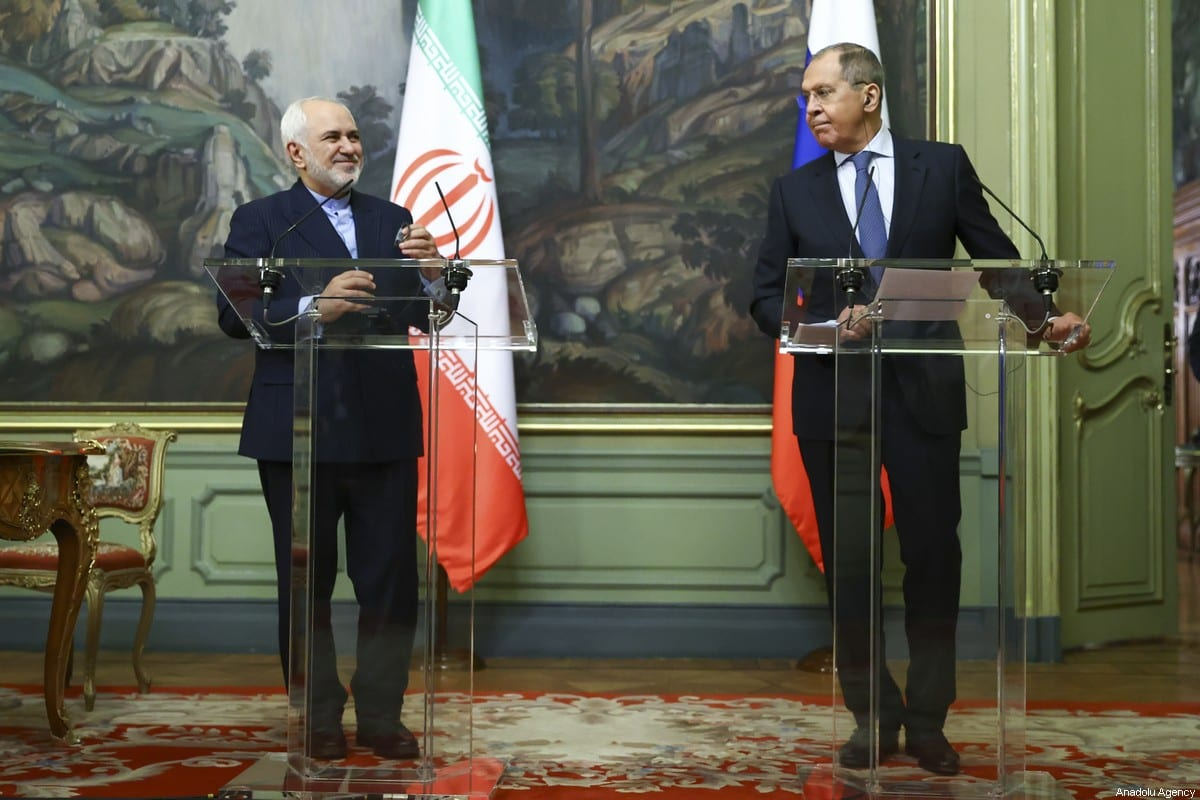 Russian Foreign Minister Sergey Lavrov (R) and Iranian Foreign Minister Javad Zarif (L) shake hands prior to their joint press conference in Moscow, Russia on 26 January 2021. [Russian Foreign Ministry / Handout - Anadolu Agency]