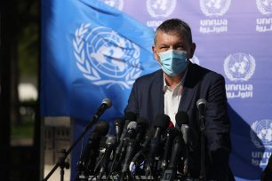 A press conference by UNRWA Commissioner-General, Philippe Lazzarini, at the agency's headquarters in Gaza City, 14 January 2021 [Mohammed Asad/Middle East Monitor]