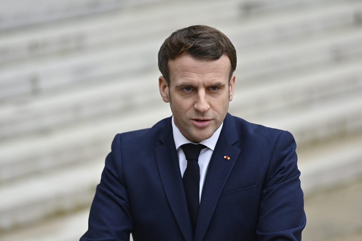 French President Emmanuel Macron seen at the Elysee Palace in Paris, France on February 01, 2021 [Julien Mattia / Anadolu Agency]