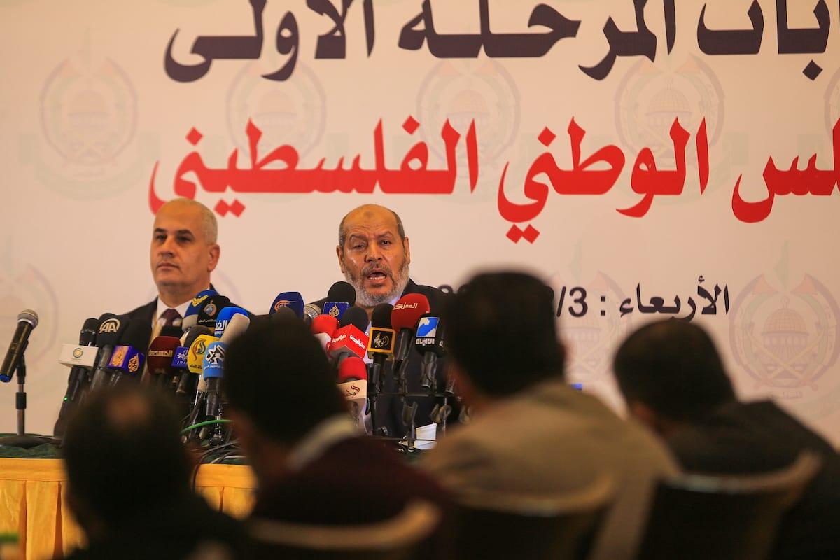 Senior Hamas official Khalil al-Hayya (R) speaks during a press conference on Palestinian election in Gaza City, Gaza on February 03, 2021 [Ali Jadallah/Anadolu Agency]