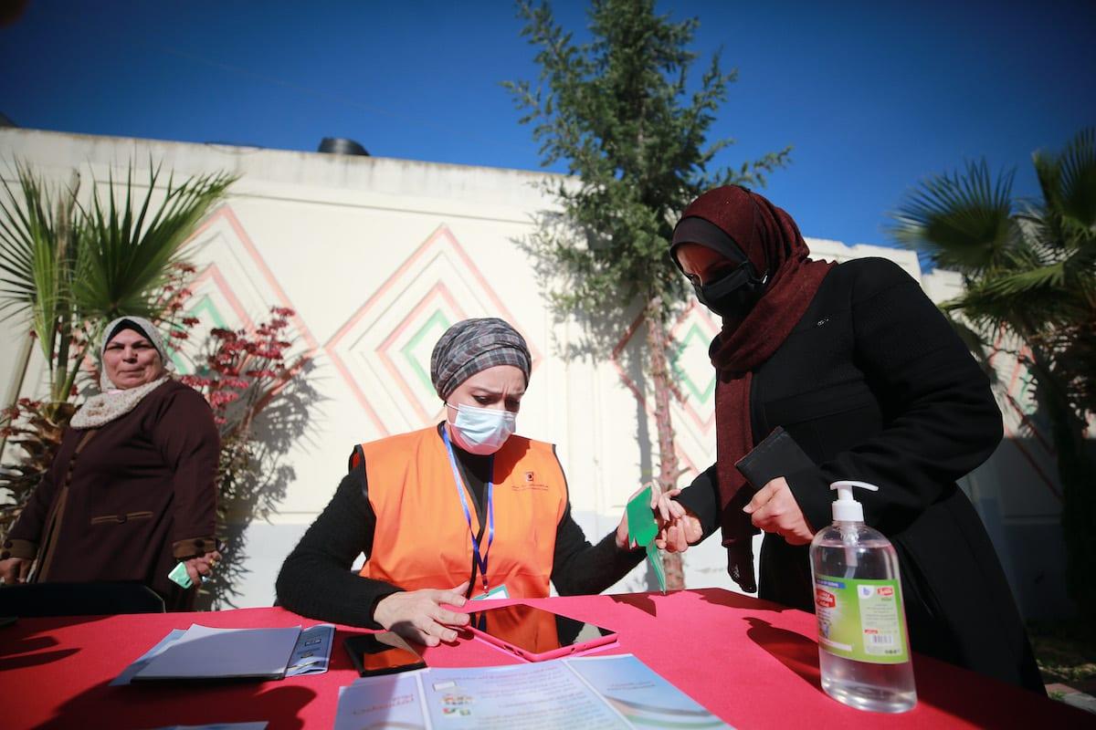 A voter registration point is built in Gaza City, Gaza on 10 February 2021. [Mustafa Hassona - Anadolu Agency]
