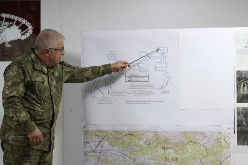 Turkey's Chief of General Staff Gen. Yasar Guler is informed on Operation Claw-Eagle 2 launched in Gara region of northern Iraq to prevent the PKK from re-establishing positions at the Operation Center on the border line where the operation was directed in Sirnak, Turkey on 14 February 2021. [Arif Akdoğan - Anadolu Agency]