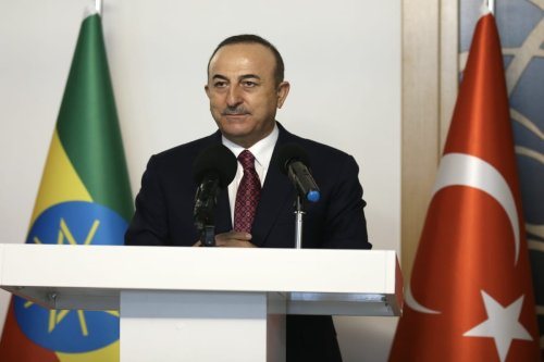 Turkish Foreign Minister Mevlut Cavusoglu in Ankara, Turkey on 15 February 2021 [Fatih Aktaş/Anadolu Agency]