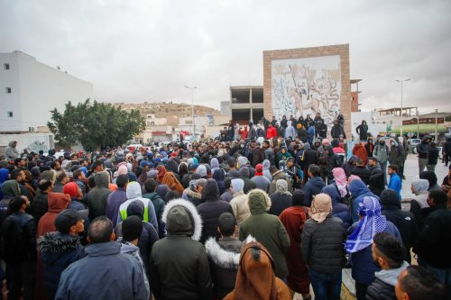 Tunisians stage a demonstration against unemployment in Kamour region of Tataouine, Tunisia on February 15, 2021 [Nacer Talel / Anadolu Agency]