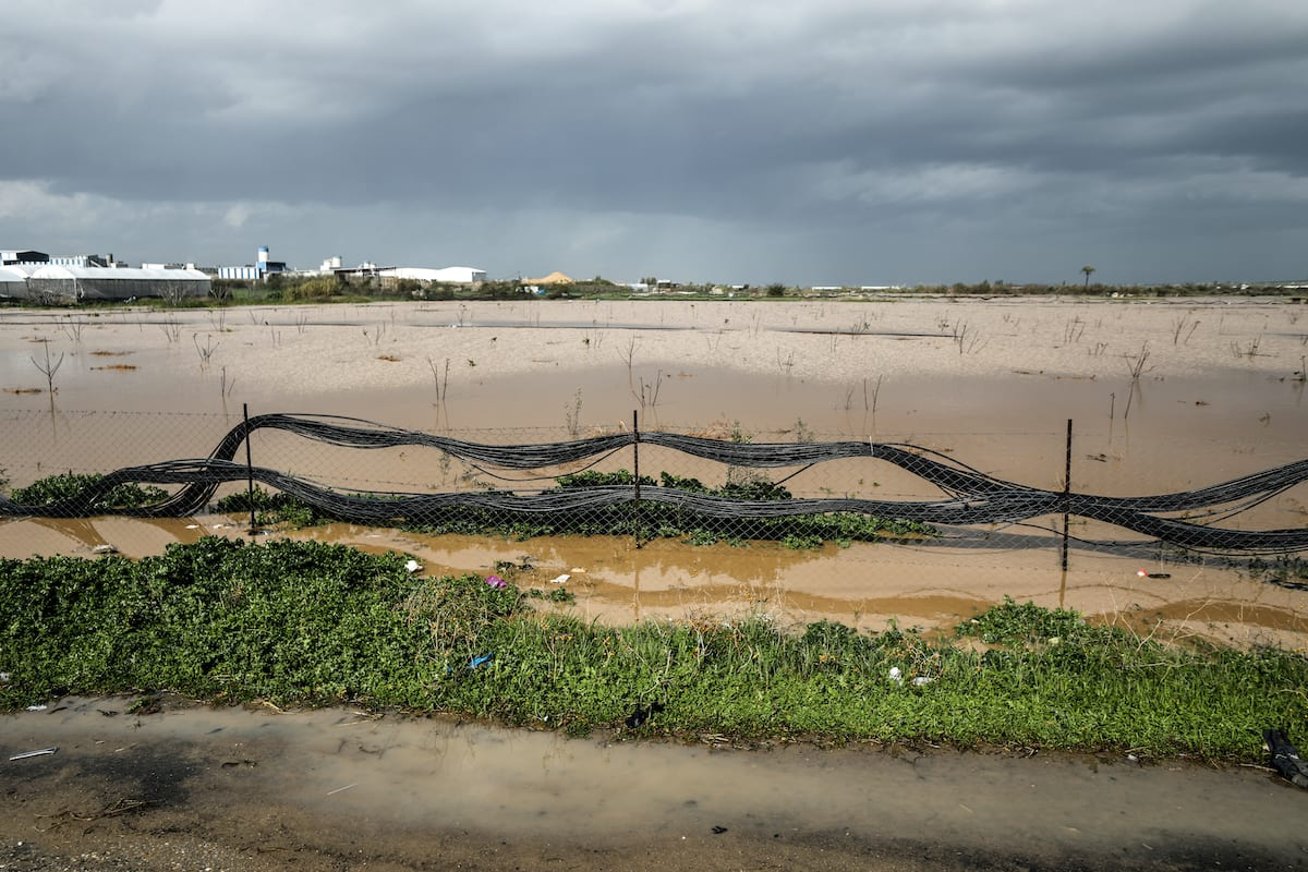 A view of flooded farmlands after Israel opened dam's gates that led to flooding of agricultural lands in eastern Gaza Strip, near the Israeli border on 18 February 2021. [Ali Jadallah - Anadolu Agency]