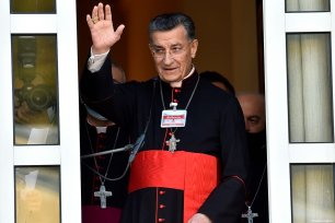 Lebanon's Cardinal Bechara Boutros Al-Rai delivers a speech to his supporters at the Maronite Patriarchate in the mountain village of Bkerki, northeast of Beirut, Lebanon on February 27, 2021 [Houssam Shbaro / Anadolu Agency]