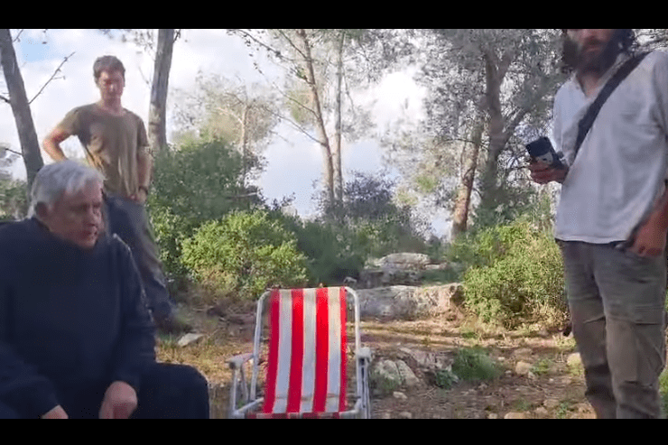 Israel settlers, soldiers harass Palestinian family picnicking in West Bank [screenshot]