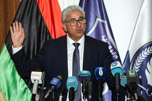 Fathi Bashagha, Interior Minister of Libya's UN-recognised Government of National Accord (GNA), speaks during a press conference at the Tajura Training Institute, southeast of the GNA-held capital Tripoli on July 28, 2020. (Photo by Mahmud TURKIA / AFP) (Photo by MAHMUD TURKIA/AFP via Getty Images)