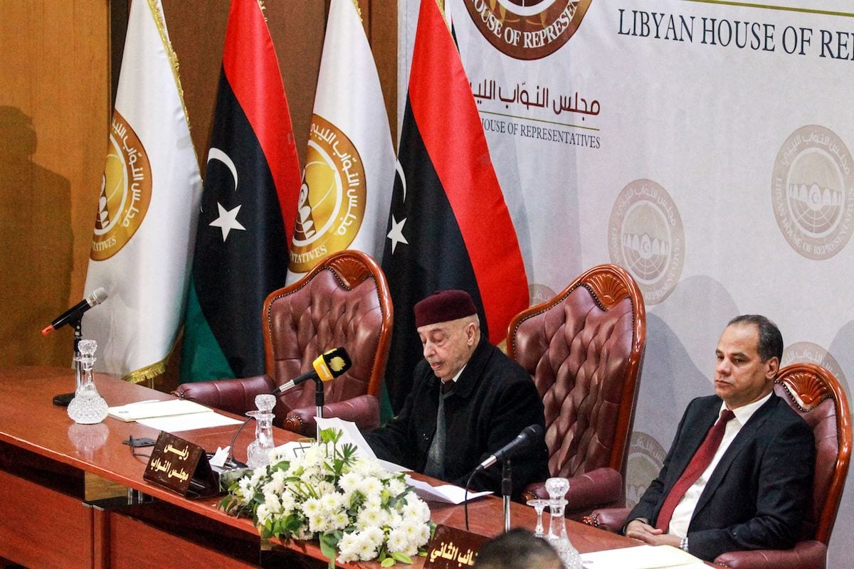 Aguila Saleh Issa (L), speaker of the Tobruk-based Libyan House of Representatives, chairs a session with other representatives in the eastern Libyan city of Benghazi on 7 December 2020. [ABDULLAH DOMA/AFP via Getty Images]
