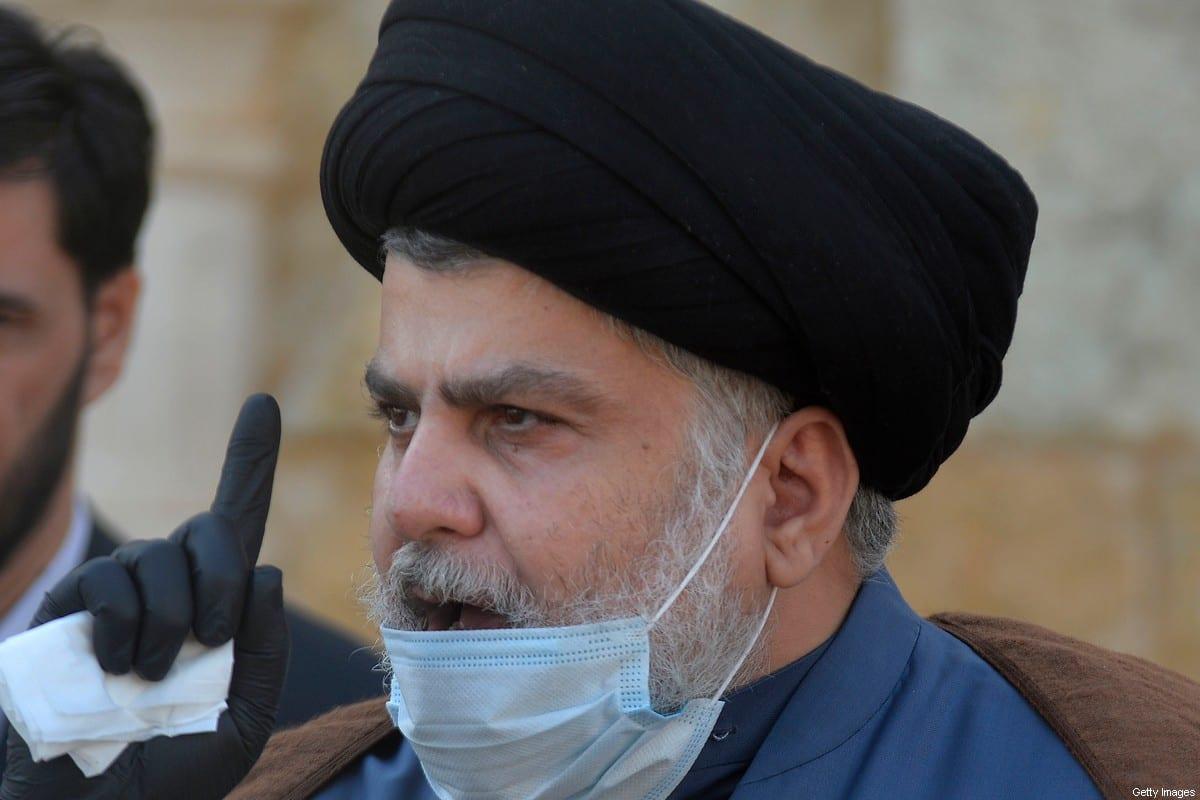 Iraqi cleric Moqtada Sadr Najaf, on February 10, 2021 [ALI NAJAFI/AFP via Getty Images]