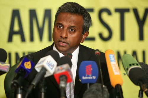 Amnesty International secretary general Salil Shetty speaks during a press conference at the journalists' syndicate in the Egyptian capital Cairo on June 25, 2011 [PEDRO COSTA/AFP via Getty Images]