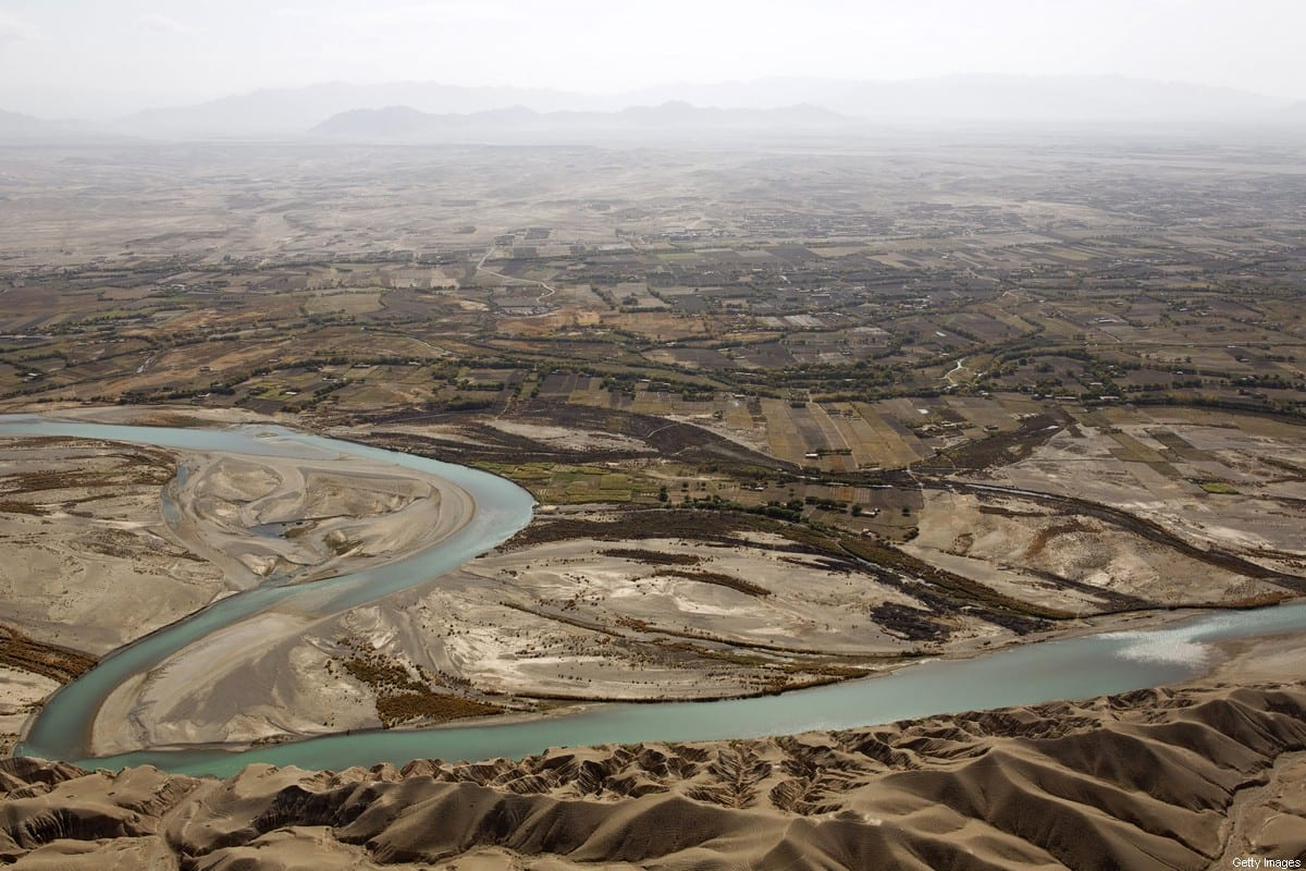 An aerial view from a medevac helicopter shows the Helmand river Helmand province on November 8, 2011. Around 140,000 international troops are serving in Afghanistan, mostly from the United States, helping Afghan government forces fight a bloody, Taliban-led insurgency. AFP PHOTO/ BEHROUZ MEHRI (Photo credit should read BEHROUZ MEHRI/AFP via Getty Images)