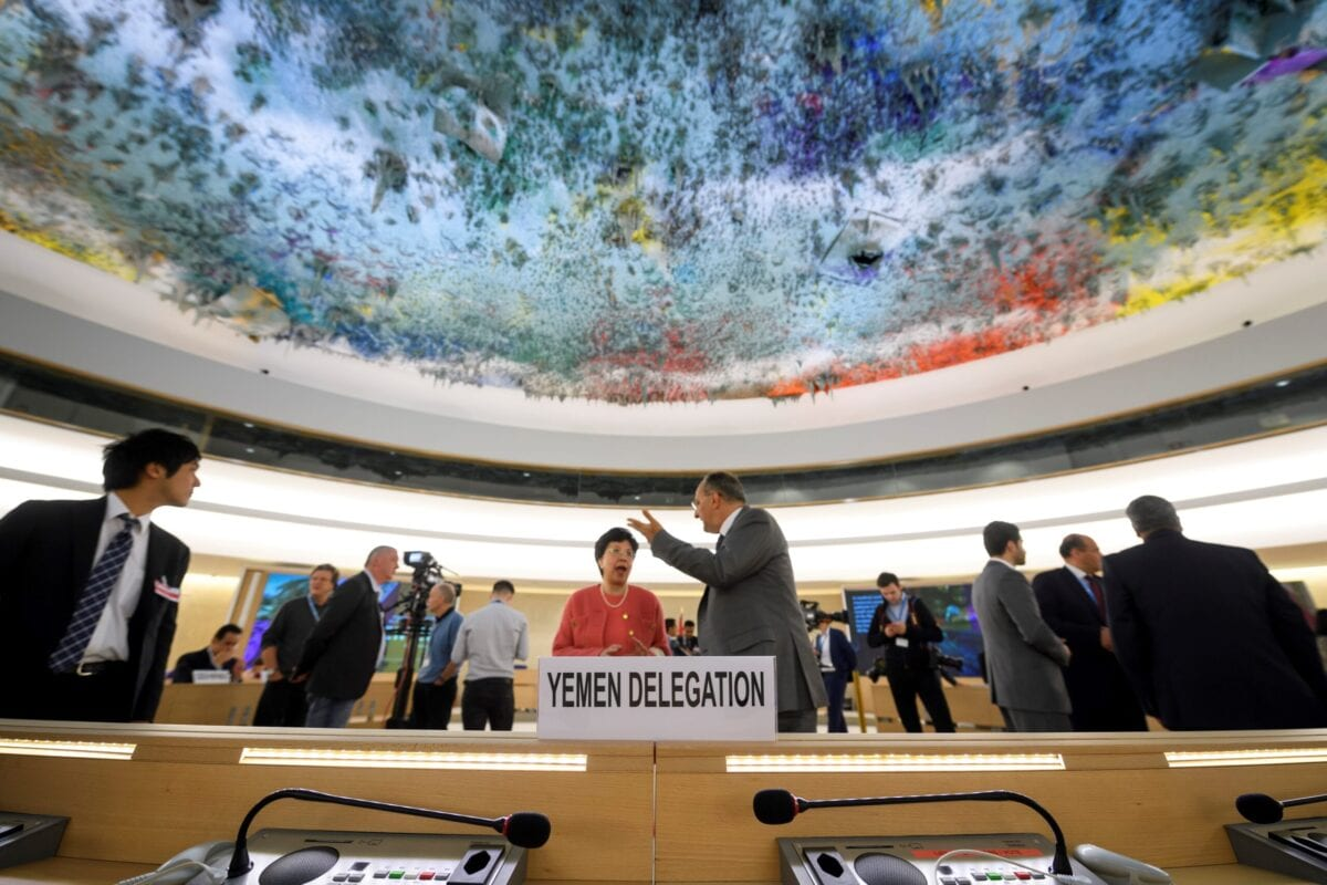 The seats of the delegation of Yemen is seen prior to the opening of a high-level conference to raise funds for war-ravaged Yemen on April 25, 2017 at the Unites Nations Office in Geneva. / AFP PHOTO / Fabrice COFFRINI (Photo credit should read FABRICE COFFRINI/AFP via Getty Images)