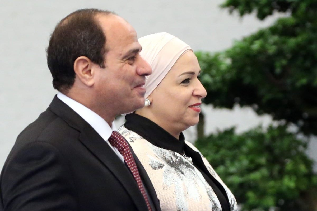 Egyptian President Abdel Fattal el-Sisi (L) and his wife Entissar Amer (R) arrive to the dinner on September 4, 2017 in Xiamen, China. [Mikhail Svetlov/Getty Images]