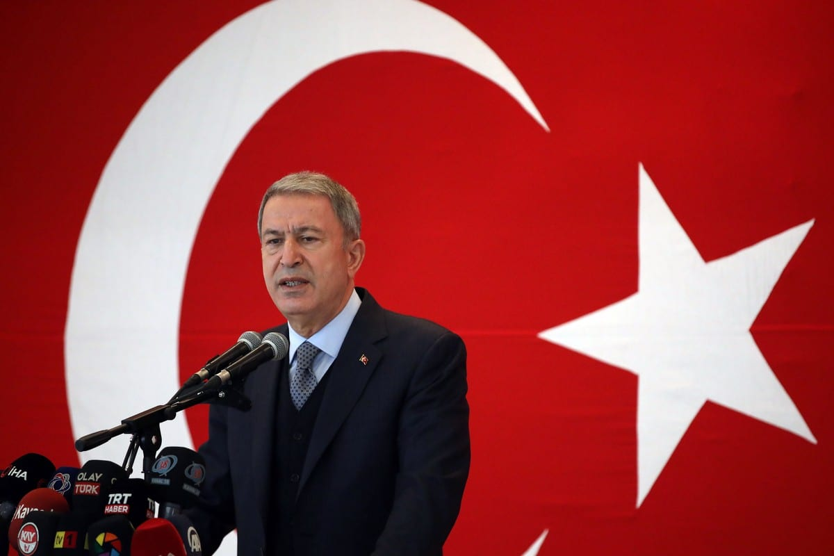 Turkish Defense Minister Hulusi Akar in Kayseri, Turkey on February 26, 2021 [Arif Akdoğan/Anadolu Agency]