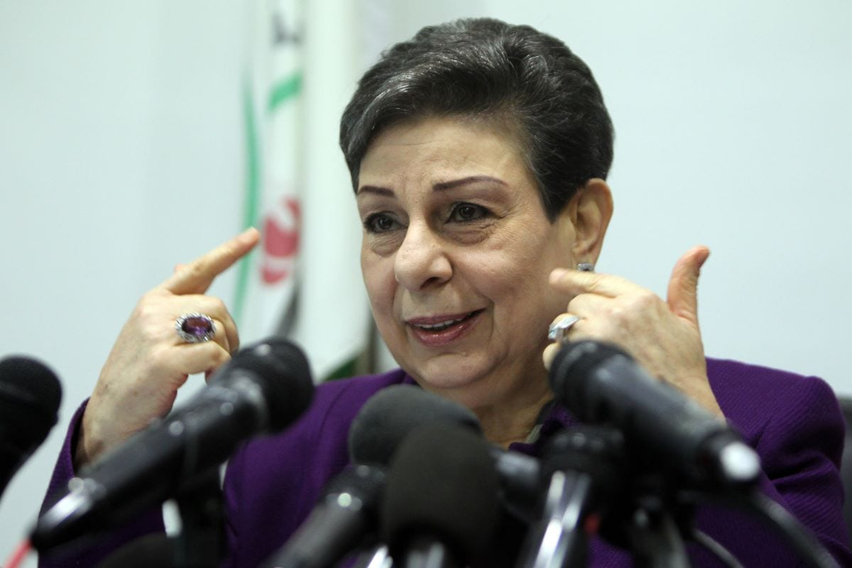 Former The Palestine Liberation Organisation (PLO) executive committe member, Hanan Ashrawi speaks during a press conference on February 24, 2015 in the West Bank city of Ramallah [ABBAS MOMANI/AFP via Getty Images]